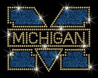 BLOWOUT SALE - Michigan University Glitter & Rhinestone Iron-On Transfer