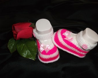 knitted baby shoes, baby shoes, baby socks, Babybooties * Antonia *.