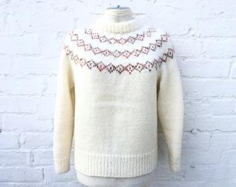 Jumper, vintage cream knit sweater, winter fashion