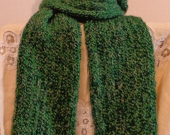 Multi-Tone Green Hand Knit Scarf