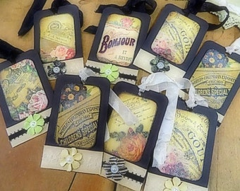 8 French Inspired Hang Tags - Cottage chic - Gift Tag - Floral