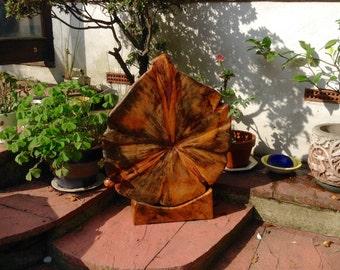 Abstract wood garden sculpture