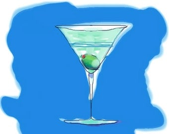 Martini, the funny collection, Gift, holidays, wedding, birthday, home, decor, beautiful, drink, popart