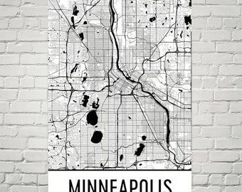 Minneapolis Map, Minneapolis Art, Minneapolis Print, Minneapolis Wall Art, Map of Minneapolis MN, Minneapolis Minnesota, Art, Gift, Decor