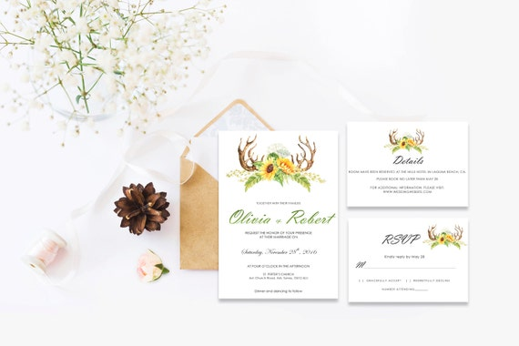 Floral wedding invite word_11,INSTANT DOWNLOAD, Editable Wedding template invitation. Microsoft Word template.Wedding Printable