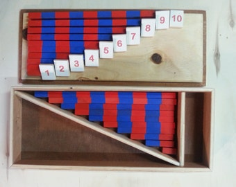 Montessori math, small rods, mini blue-red rods