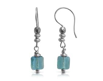 Everyday Earrings Dangle Earrings Simple Earrings, Aquamarine Earrings, Gift, Dainty Earrings Drop Earrings, Silver Earrings, ToBeMeJewelry