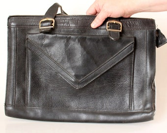 vintage black leather laptop bag . large leather bag . hipster leather briefcase . vintage attache case