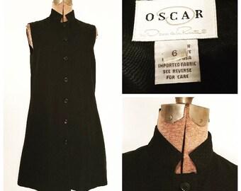 VTG OSCAR DE La Renta Mini Dress// Sleeveless Minimalist Mod Lbd// Ladies 6