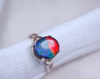 Ammolite Jewelry ring.Grade AA--deep rich colours.