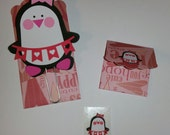 Limited Edition Valentine Penguin Girl  Planner Paper Clip with 10 stickers, planner accessory, planners, 50 available, handmade FREE GIFT