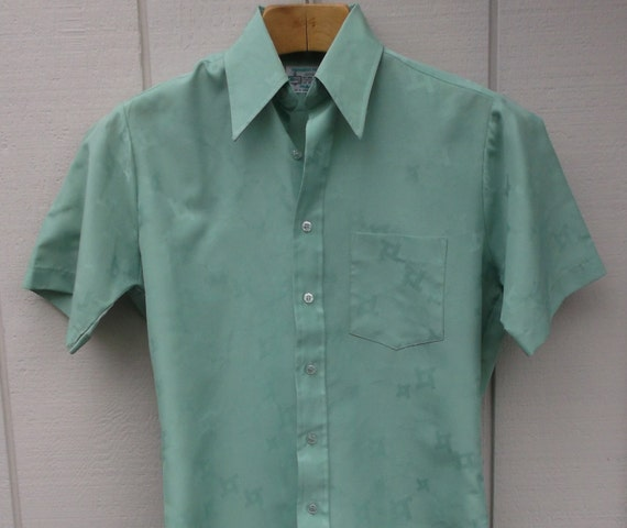70s vintage kmart green polyester button down shirt by for Kmart button up shirts