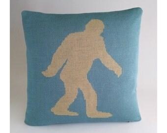 Bigfoot Sasquatch Pillow - Loom Knit Cotton/Linen - Sky Blue & Canvas