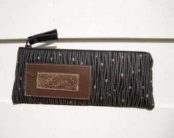 Sugar long pouch, pencil case, cosmetic bag, gift for her, lifestyle, zipper pouch, black, small