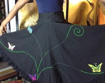 Vintage Black Cotton Circle Skirt Butterfly Juli Lynne Charlot As-Is
