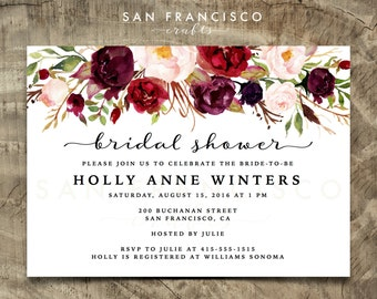 bridal shower invitation printable bridal shower invite floral red marsala burgundy