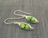 Pea pod earrings. Two peas in a pod with green mother of pearl.  Mothers day gift. Pea pod jewelry, twin jewelry, gift for mom