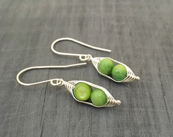 Peapod earrings. Two peas in a pod with green mother of pearl.  Mothers day gift. Peapod jewelry.