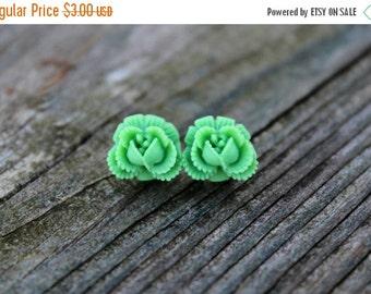 SALE Ruffled Rosebud Stud Earrings - Green