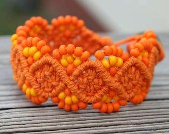 Micro-Macrame Beaded Hemp Cuff Bracelet - Orange