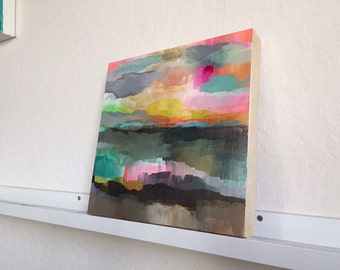 """12""""x12"""" Abstract Sunset: Original painting on birch board"""