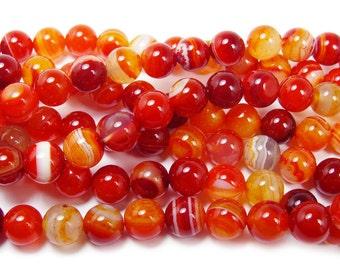 Magenta Red Striped Agate Round Gemstone Beads