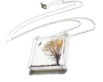 Salutations Glass Necklace, Bird Necklace, Tree Glass Necklace,  Nature Glass Necklace, Stained Glass Jewelry