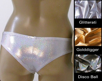 Cheeky Brazilian Boy Short Bikini Bottom in Gold, Silver, and Disco Ball Glitter Hologram in S-M-L-XL