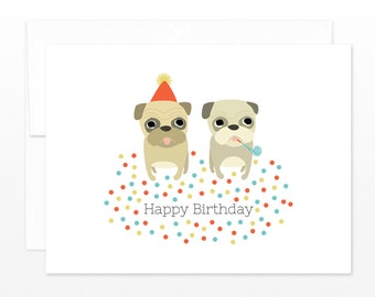 Funny Pug Card - Cute Pug Birthday Greeting Card - Party Pug Card - 2 Pug Card, Funny Birthday Card, card for him, card for her
