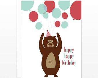 Cute Birthday Party Card - Funny Bear & Balloons Greeting Card - kids birthday card, kids birthday party card, card for boys, card for him