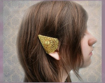 SALE Elf Ear Cuffs Ornate Brass Filigree Elven Ear Tip Covers Two piece set Non pierced No pierce Were 32.00