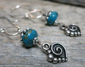 Lover's Embrace earrings ... antiqued silver hearts / sterling silver artisan earwires / dark turquoise