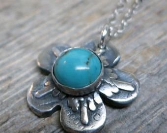 Blossom necklace ... fine silver / sterling sliver / flower / sleeping beauty turquoise