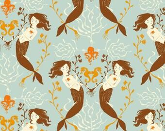 Mendocino Light Blue Mermaids Heather Ross cotton quilt fabric - fat quarter, mendocino fabric, heather ross fabric