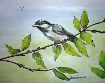 Happy Chickadee Watercolor Painting, pen and wash watercolour