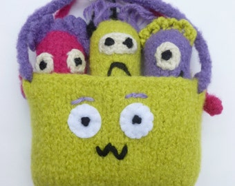 SALE Monster play set Monsters in a pouch peg doll set Waldorf inspired Monster finger puppets