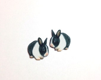 Handcrafted Plastic Baby Bunny Rabbit Stud Earrings Made in USA