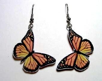 Handmade Plastic Monarch Orange Black Butterfly Earrings