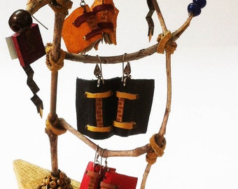 Book earring collection on a twig ladder, miniature book earrings, leather bound tiny books, twig ladder jewelry display, jewelry display