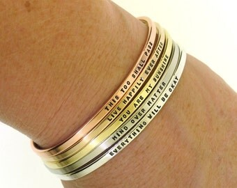 Personalized Bracelet, CHOOSE YOUR METAL, hand stamped cuff bracelet custom made in copper, bronze, brass, nickel, or sterling silver