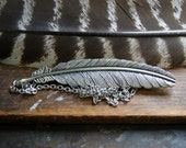 Large Silver Feather Necklace - Silver Feather Pendant