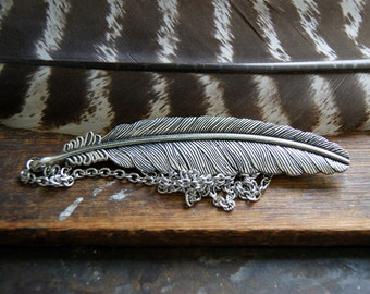 Large Silver Feather Necklace - Feather Necklace - Silver Feather Necklace - FREE GIFT WRAP