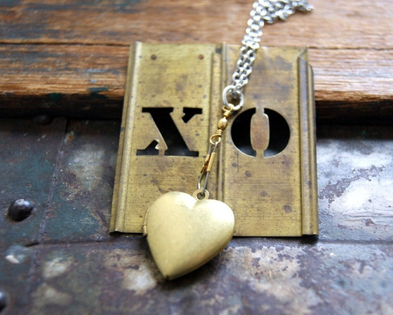 Heart Locket Necklace - Hooked on Love - Locket Necklace - Heart Necklace - vintage brass locket - heart jewelry - Valentine's Day Jewelry