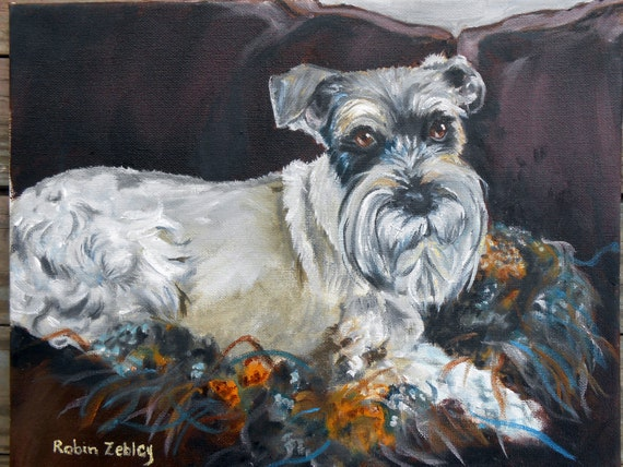 Schnauzer Dog Oil Painting, Pet Portrait Custom Art, Real Oil Painting on Stretched Canvas