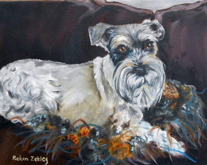 Schnauzer Dog Oil Painting, Pet Portrait Custom Art, Real Oil Painting on Stretched Canvas Gift Certificate