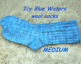 Icy Blue Waters socks --- wool socks ---  MEDIUM