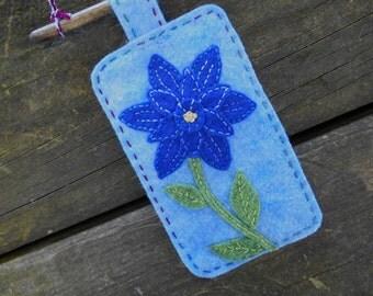 Flower Art, Embroidery Art, Miniature wool painting, Flower Wall Art, Mini Wallhanging, Blue Flower Art, Flower Fiber Art