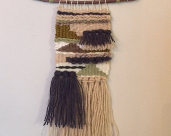 Small weaving tapestry wall hanging indigo sage olive ivory