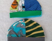 Size Newborn and 1-3 months  two pack of babyhats for boy made from upcycled tshirts