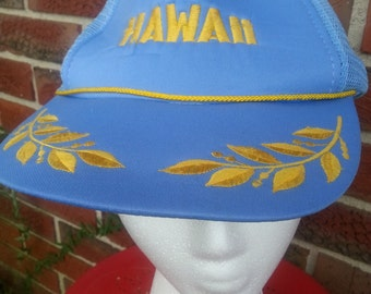 Vintage Hawaii Military Snap Back Trucker Hat Cap
